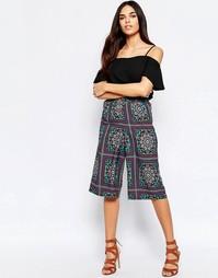 Юбка-шорты с мозаичным принтом Mela Loves London - Зеленый