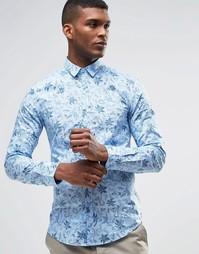 Рубашка слим со сплошным цветочным принтом United Colors of Benetton