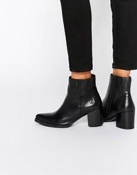 Остроносые кожаные ботильоны на каблуке Bronx - Черный наппа