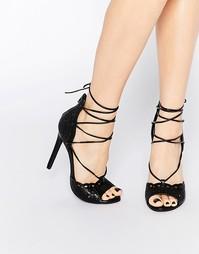 Ажурные босоножки на шнуровке Boohoo - Черный