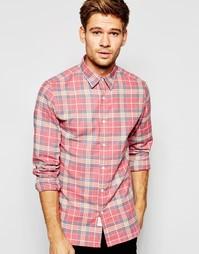 Клетчатая рубашка слим с начесом Selected Homme - Красный
