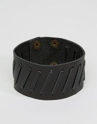 Черный кожаный браслет‑манжета ASOS - Черный