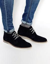Темно-синие замшевые ботинки чукка Dune - Темно-синий
