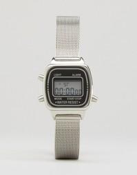 Цифровые часы с сетчатым ремешком ASOS - Серебряный