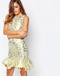 Асимметричное платье мини с эффектом металлик VLabel Caxton - Золотой