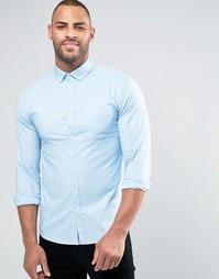 Облегающая оксфордская рубашка с длинными рукавами ASOS - Синий