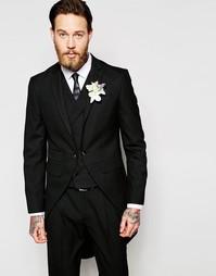 Пиджак узкого кроя на свадьбу со шлейфом ASOS - Черный