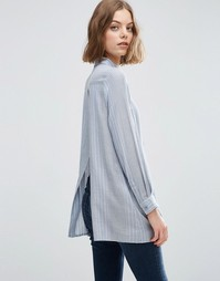 ASOS Open Back Shirt in Fine Blue Stripe - Мульти