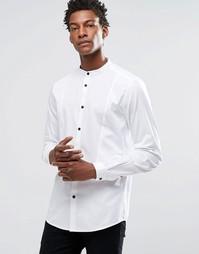 Рубашка с фактурной вставкой и воротником с застежкой на пуговицу ASOS