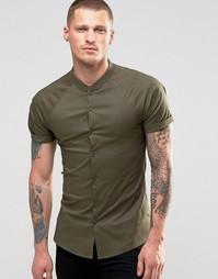 Рубашка хаки суперзауженного кроя с рукавами реглан ASOS - Хаки