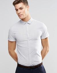 Зауженная рубашка в тонкую полоску с короткими рукавами ASOS - Белый