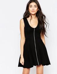 Короткое приталенное платье с молнией спереди Liquorish - Черный