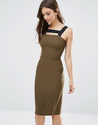 Платье миди с контрастными ремешками Love - Хаки