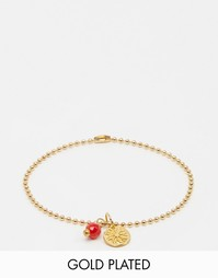 Позолоченный браслет из шариковой цепочки с красным кораллом Mirabelle