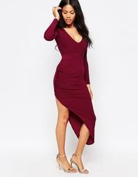 Асимметричное платье с длинными рукавами Love - Wine