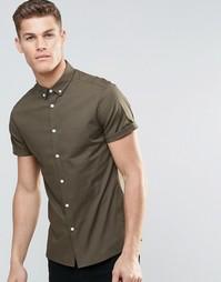 Зауженная рубашка цвета хаки с короткими рукавами и воротником на пуго Asos
