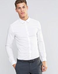 Белая рубашка узкого кроя с длинными рукавами ASOS - Белый