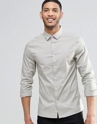 Зауженная рубашка с длинными рукавами ASOS - Stone