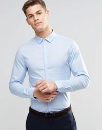 Зауженная бледно-голубая рубашка с длинным рукавом ASOS