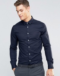 Темно-синяя облегающая рубашка ASOS - Темно-синий