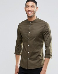 Облегающая рубашка цвета хаки с воротником на пуговицах ASOS - Хаки