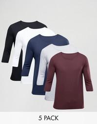 Набор из 5 футболок с рукавами 3/4 ASOS, СКИДКА 23% - Мульти