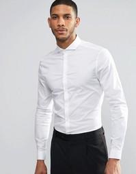 Белая рубашка зауженного кроя со срезанным воротником и длинными рукав Asos