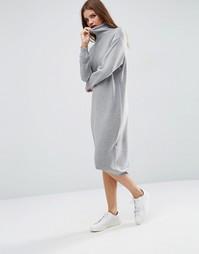 Трикотажное платье миди с высоким воротом ASOS - Умеренный серый