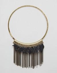 Броское ожерелье с перьями Nylon - Латунь