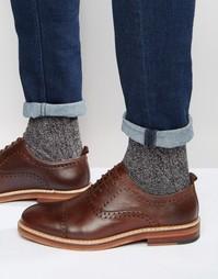 Коричневые кожаные броги на шнуровке ASOS - Коричневый