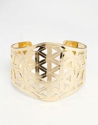Браслет-кафф с геометрическим резным дизайном Nylon - Золотой