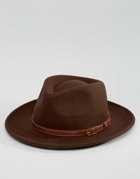 Широкополая шляпа с плоской круглой тульей и лентой из искусственной к Asos