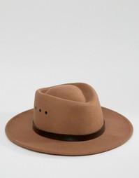 Широкополая шляпа с плоской круглой тульей и люверсами ASOS - Кэмел