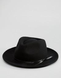 Широкополая шляпа с плоской круглой тульей и завязкой ASOS - Черный