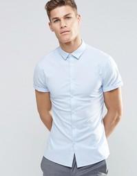 Синяя оксфордская рубашка зауженного кроя с короткими рукавами ASOS