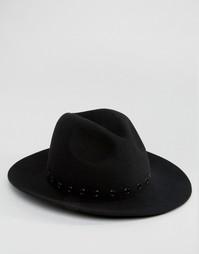 Мягкая фетровая шляпа с черными люверсами ASOS - Черный