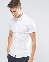 Белая оксфордская рубашка скинни с короткими рукавами ASOS - Белый
