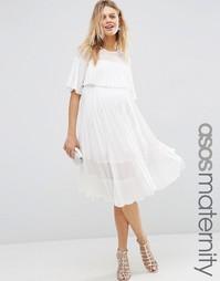 Плиссированное платье миди с укороченным топом ASOS Maternity