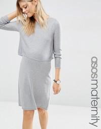 Трикотажное платье для беременных ASOS Maternity - Серый