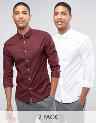 2 рубашки скинни с длинными рукавами ASOS - СКИДКА 15%