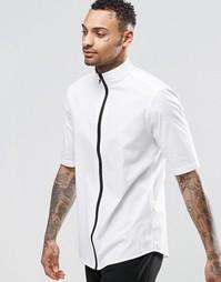 Белая рубашка на молнии с рукавами до локтя ASOS - Белый
