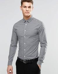 Рубашка суперзауженного кроя в клеточку с длинными рукавами ASOS