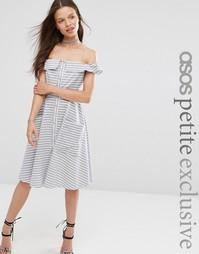 Летнее платье в полоску с пуговицами спереди ASOS PETITE - Мульти