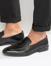 Лоферы из черной замши с декоративной строчкой на носке и кисточками A Asos