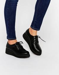 Туфли на платформе со шнуровкой London Rebel - Черный полиуретан