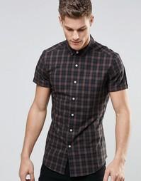 Бежевая облегающая рубашка в клетку с короткими рукавами ASOS - Кэмел