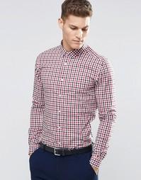 Зауженная рубашка в клетку 2 цветов с длинными рукавами ASOS - Красный