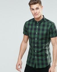 Облегающая зеленая рубашка в клетку с короткими рукавами ASOS