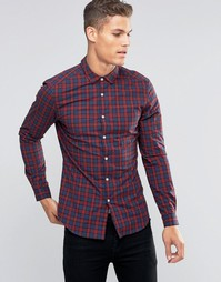 Темно-синяя рубашка в красную клетку с длинными рукавами ASOS
