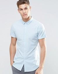 Рубашка зауженного кроя в голубую полоску с короткими рукавами ASOS